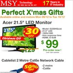 """Acer 21.5"""" 1920x1080 Monitor $99 MSY 9/12 & 10/12 Only"""
