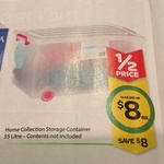 HALF PRICE 55L Storage Container with Wheels & Lid $8 at Woolworths (Save $8) - Starts 19/02