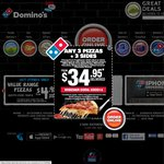 Domino's: Any 3 Traditional Pizzas + Garlic Bread + 1.25lt Coke Pickup at $19.95 until 07 June