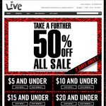50% off Sale Items at Live Clothing (PricesMarked) ONLINE/INSTORE + 15% OFF First Order