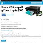Visa Card Valued up to $100 with Purchase of HP Printer and Cartridge