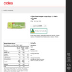 12x Free Range Eggs 600g Now $3.80 Every Day @ Coles & Woolworths
