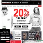 20% off with Code - Full Price Purchases @ General Pants Online 12 Hours Only