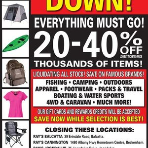 WA] Closing Down Sale @ Ray's Outdoors - 20-40% off Lowest