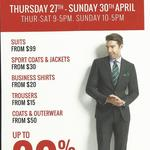 Suit Sale Warehouse Clearance - Stafford Group - up to 80% off