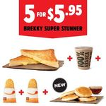 [NATIONWIDE 26/9] Hungry Jack's NEW 5 for $5.95 Brekky Super Stunner (Cheese Toastie, 2 Hash Browns, Small Coffee & 4 Pikelets)