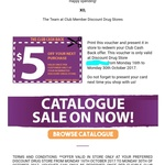 $5 Voucher for Club Members @ Discount Drug Stores