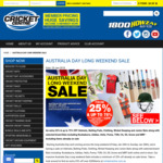 Extra 25% off + up to 75% off: Australia Day Long Weekend Sale @ Greg Chappell Cricket Centre