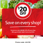 $20 off Every Shop (Min Spend $200) 3rd-15th July @ Coles Online