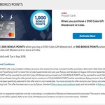 500/1000 BONUS Flybuys Points for Every $50/$100 Coles MasterCard Gift Card Purchased @ Coles (via Flybuys)