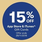 15% iTunes & App Store Gift Cards @ BIG W & Officeworks