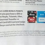 Collect 2000 Flybuys Points (Worth $10) When You Purchase $50 or above Uber, Ticketek or Hoyts Gift Cards @ Coles