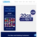 Lebara Mobile: MEDIUM 180-Day Prepaid Plan $130 (With 20GB per mth Data, Unl. International Calls to 30 Countries)