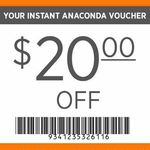 $20 off $60+ Spend or $10 off $40+ Spend @ Anaconda (In-Store Only)
