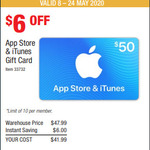 $50 iTunes Gift Cards for $41.99 @ Costco (Membership Required)
