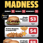 [QLD, NSW, SA, VIC] Daily Madness Deals $3-$5: Every Monday to Wednesday in March via MyCarl's App @ Carl's Jr