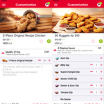 [Hack] KFC 21 Pieces of Chicken $21, 30 Nuggets $10, Regular Chips $1, 3 Nugget Go Bucket $2.50 (KFC App Required)