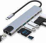 8-in-1 USB C Hub, 4K@60Hz, PD87W, Ethernet, USB, SD/TF $33.92 Delivered @ HARIBOL Amazon AU