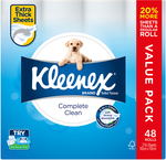 Kleenex Complete Clean Toilet Tissue 48x216 Sheets $28.99, 60x180 Sheets $29.99 Delivered @ Costco Online (Membership Required)