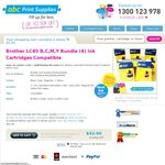 Brother LC40/73 Compatible BCMY Ink Cartridge Bundle $22.90 ($20 off) + $8 Del. ABC Print Supplies
