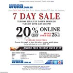 Word Bookstore 20% off Online (and in Store if Show Voucher). 25% off & Free Shipping if $125+