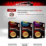 Bitdefender Antivirus, Internet Security and Total Security for $29 Each (1 Year Subscription)