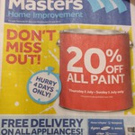 20% off All Paint + Free Sample Pot of Valspar 500ml Paint @ Masters
