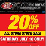 Supercheap 20% All Store Stock Sale This Saturday Only