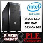 Intel i3 4170 + 4GB + 240GB SSD + GTX950 PC System $599 Delivered (eBay 15% off) @ PLE eBay
