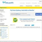 Cebu Pacific - Sydney to Manila, One Way 189 / Return 341