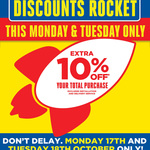 Masters Extra 10% off Again Monday 17th and Tuesday 18th This Week