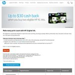 HP Ink Cashback with The Purchase of 2 XL Ink Cartridges (up to $30) @ HP