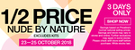 1/2 Price Nude by Nature, Trilogy, OGX, Sally Hansen, Le Tan (Some Exclusions) @ Priceline