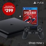 PlayStation 4 500GB + Spiderman Bundle $299, DualShock 4 Controllers $59, PS4 Pro + GT Sport $495, Xbox 1S 1TB $299 @ Target