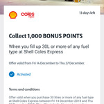 1000 Bonus Flybuys Points When You Purchase 30L or more of Any Fuel Type @ Shell / Coles Express