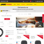 Up to $100 Instant Cashback on Set of 4 Michelin Tyres @ Jax Tyres, TyrePlus, Michelin Service Centres & Bob Jane