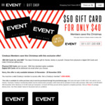 20% off $50 Event Cinemas Gift Cards @ Event (Excludes VIC & TAS)