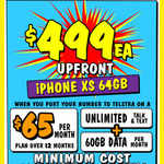 iPhone XS 64GB $499 Upfront on $65/M for 12months Contract @ JB Hi-Fi