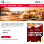 4x Burgers + 4x Regular Chips (Value Burger Box) $19.95 @ KFC