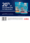 Purina One Cat Food 500g - 20% off Voucher for Use at Coles