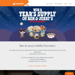 Win 1 of 200 One Year's Supply of Ben & Jerry's Ice Cream valued at $624 from Woolworths Rewards [Purchase, Excluding TAS]