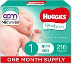 Huggies Newborn Nappies Size 1 (up to 5kg) - 216 Count $50 ($42.50 S&S) Delivered @ Amazon AU
