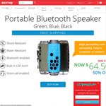 50% off Portable Bluetooth Speaker (Save $64.50) + $10 Discount Coupon + Free Delivery @ SONIQ