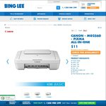 Canon MG2560 - Pixma All-in-One Printer $11 @ Bing Lee - in Store Only