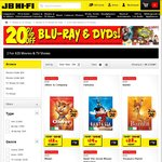 JB Hi-Fi 20% off All Blu-Ray/DVD. 2 for $16: Range Includes Hateful Eight, Room, Creed, Black Mass, etc