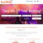 Take $50 off International Return Flights with Singapore Airlines and Virgin Australia When Booking with Aunt Betty