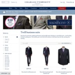 $50 off Twill Suits @ Charles Tyrwhitt