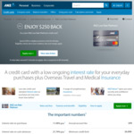 $250 Cashback on ANZ Low Rate Platinum Credit Card after $500 Spend in 60 Days. $99 Annual Fee