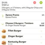 2x Zinger Stacker Combos $16.95 | 2x Kentucky Burger Combos  $14.95 | 2x Fillet Burger Combos $11.95 @ KFC App