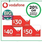 20% off Vodafone Recharges, Woolworths Mobile $30 Starter Kit $15, Telstra $30 Starter Kit $10 @ Woolworths